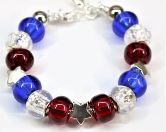 Large Bead Star Bracelet, USA Patriotic Star Jewelry, Election Day Accessories Red White and Blue July 4th , Memorial Day Gift for Her
