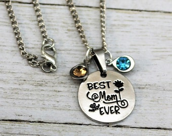 Best Mom Ever Personalized Teardrop Birthstone Pendant Necklace, Customized Stainless Steel Jewelry Gift for Grandma, Sister, Friend