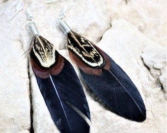 Natural Feather Earrings, Black Feather Earrings, Natural Boho Chic Style Western Jewelry, Small Gypsy Festival Accessories, Gift for Her