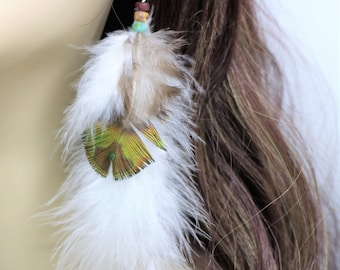 Natural Long Peacock Plumage Feather Earrings, Real Green and White Turkey Feather Earrings, Boho Feather Earrings, Gift for Her