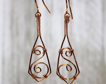 Copper Wire Wrapped Earrings, Handmade Accessories, Scroll Pattern Triangle Dangle Jewelry, Gift for Her