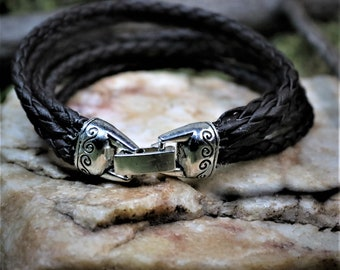 Braided Leather Cord with Celtic style Closure