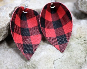Leather Leaf Earrings, Pinched Leather Leaf Earring, Red Buffalo Plaid Leaves, Faux Leather Teardrop, Boho Chic, Fall Fashion, Gift for Her