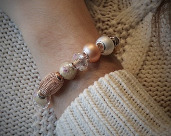 Rose Gold Large Bead Bracelet