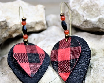Red Buffalo Plaid and Black Leather Earrings, Natural Bohemian Cabin Wear Jewelry, Country Style Fall Winter Fashion Accessory Gift for Her