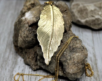Gold Leaf Pendant Necklace, Natural leaves Filigree Long Chain Jewelry, Fashion Unique Style,  Beautiful Accessory Gift for Her