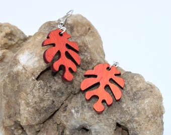 Wood Cutout Leaf Natural Style Dangle Earrings, Fall accessory. Flora Themed Autumn Earrings,  Gift for Her
