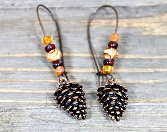 Antique Copper Pinecone Dangle Earrings, Autumn Style Ear Wire Drop Fall Earrings, Gift for Her