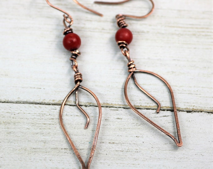 Featured listing image: Copper Wire Wrapped Leaf Beaded Earrings, Handmade Hammered Patina Accessories, Autumn Fall Jewelry, Gift for Her