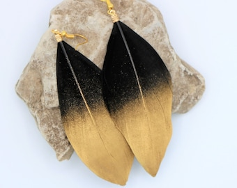 Natural Black Feather Earrings with Gold Tips, Festive Holiday Jewelry, Cruelty Free Boho Chic Style  Medium Length  Accessories