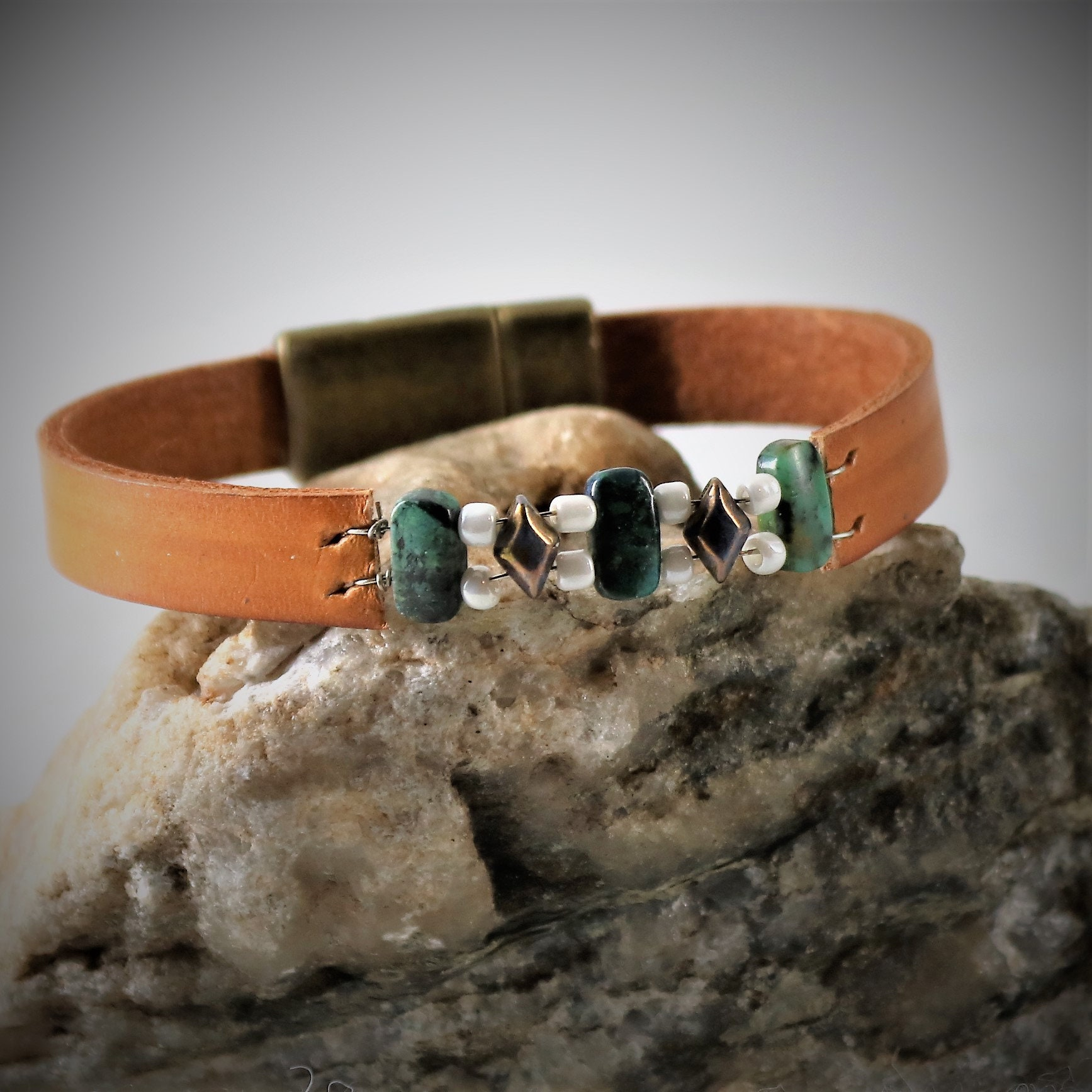 4676493b8b075 African Turquoise Leather Bracelet, Leather Bead Bracelet, Leather ...