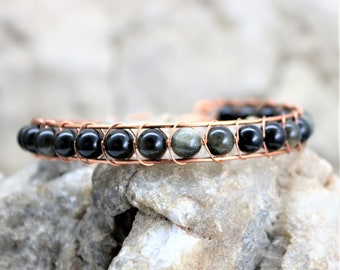 Golden Obsidian Sterling Silver Wire Wrap Bracelet, Copper Wrapped Healing Stone Accessory Unique Handmade Unisex Jewelry Gift for Him, Her