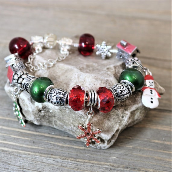 Christmas Charm Bracelet With Large Red And Green Pandora Etsy