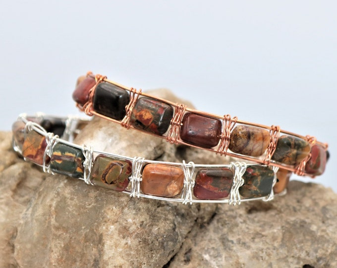 Featured listing image: Picasso Jasper Natural Gemstone Woven Wire Wrap Bracelet, Sterling Silver or Copper Wrapped Rectangle Bead Jewelry,  Unique Gift for Her