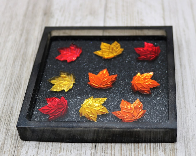 Featured listing image: Autumn Maple Leaf Themed Coaster, Shiny Metallic Glitter Trinket Tray, Fall  Home Decoration, Thanksgiving Gift for the Home, Gift for Her