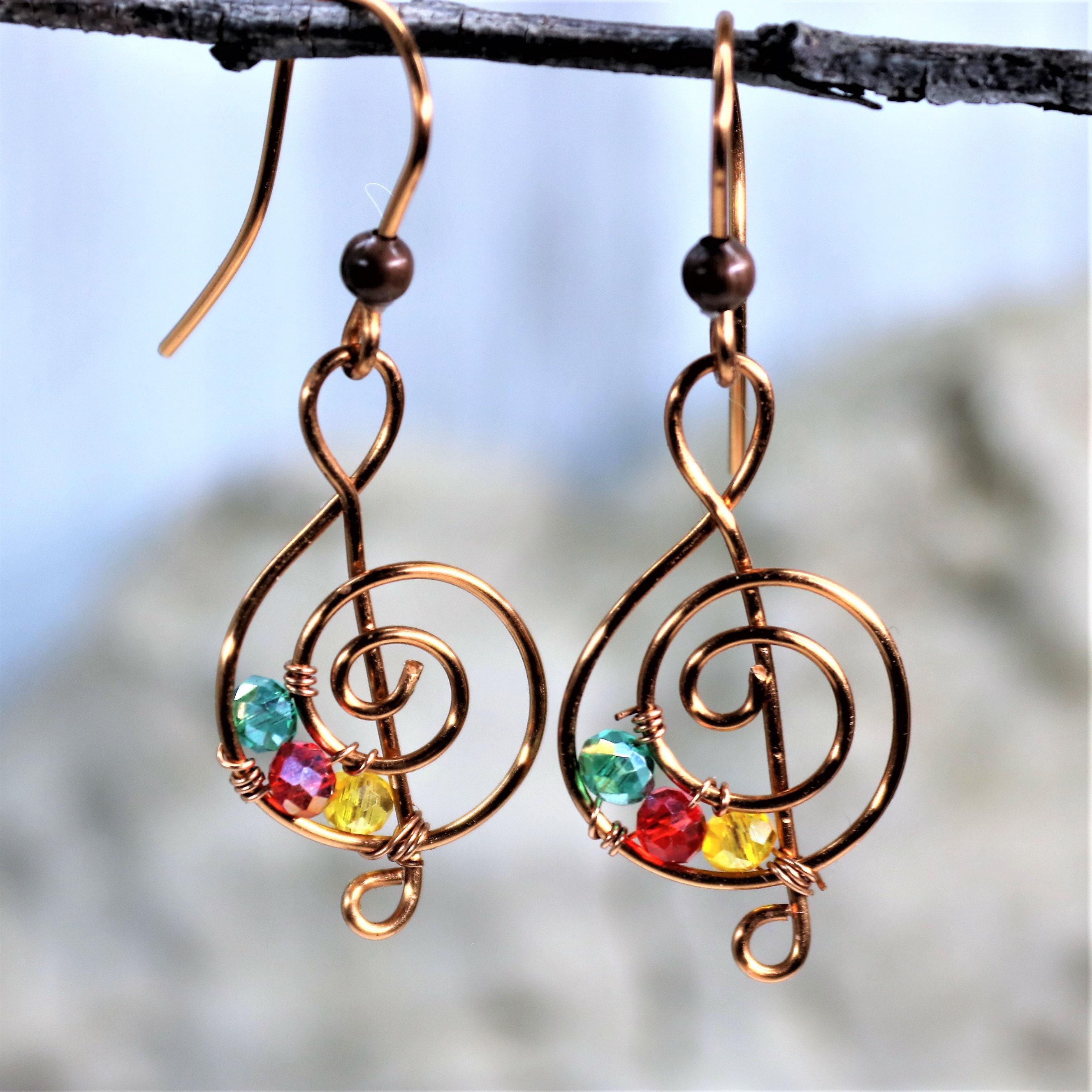 handmade beaded earrings gifts for her earrings for women gifts for women Beaded earrings copper earrings beaded jewelry art jewelry