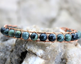 Kambala Jasper Sterling Silver Wire Wrap Bracelet, Copper Wrapped Healing Stone Accessory Unique Handmade Unisex Jewelry Gift for Him or Her