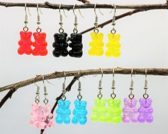 Gummy Bear Earrings, Resin Jewelry Accessory, Fun Food Novelty Jewelry, Gift for Her