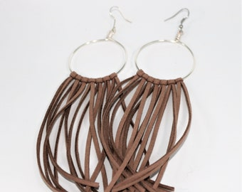 Suede Fringe Hoop Earring with Hook , Leather Fringe Hoop Earring, Dangle Fringe Earring, Leather Boho Chic Leather Earring, gift for Her