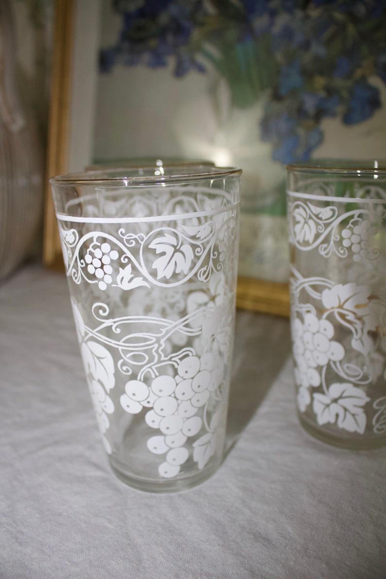 White w Gold Rim Vintage Set of Three Grape Pattern HighBall Glasses