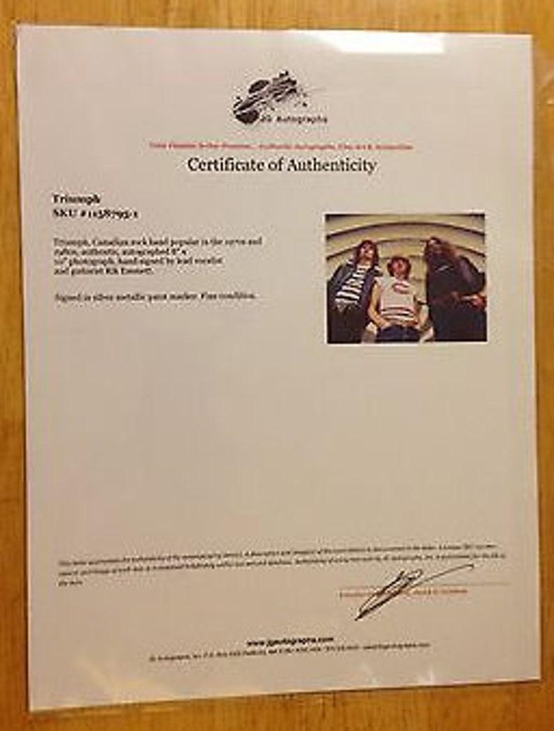 Signed Rik Emmett 8 x 10 photograph of TRIUMPH UACC Canada