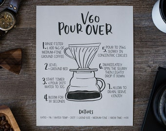V60 Pour Over Brewing Guide Print   Hand-lettered Illustrated Print   8x10 Print