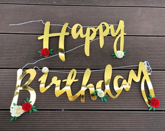 gold birthday banner etsy