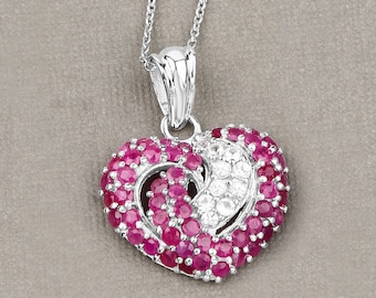 Ruby Pendant, Natural Ruby & White Sapphire Heart Cluster Pendant in .925 Sterling Silver, July Birthstone, Valentine Gifts for Her