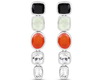 Multi-Gemstone Earrings, Natural Black Onyx, Prehnite, Carnelian, Crystal Quartz Dangle Earrings for Women in .925 Sterling Silver, Gift