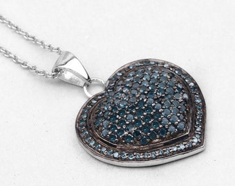 Blue Diamond Pendant, Natural Blue Diamond Cluster Heart Pendant Necklace, Sterling Silver, Bridal Necklace, Diamond Jewelry Ideas for Her