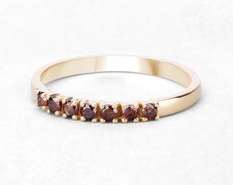 Red Diamond Gold Ring, 7 Stone Diamond Ring, Diamond Ring, Yellow Gold Ring, Diamond Ring, Gift for Her, April Birthstone Ring