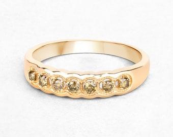 Yellow Diamond Ring, 7 Stone Diamond Ring, Yellow Gold Ring, Yellow Diamond Band Ring, April Birthstone Ring, Gift for Women,Bridal Ring