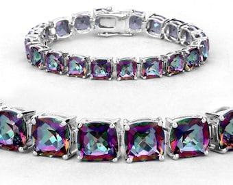 Mystic Topaz Bracelet, Rainbow Topaz Silver Tennis Bracelet for Women, 925 Sterling Silver, Topaz Cushion Wedding Bracelet, Gifts for Her