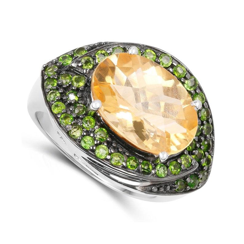 Yellow Gemstone Ring Citrine Ring Natural Citrine /& Chrome Diopside Silver Ring for Women November Birthstone Ring Birthday Gift