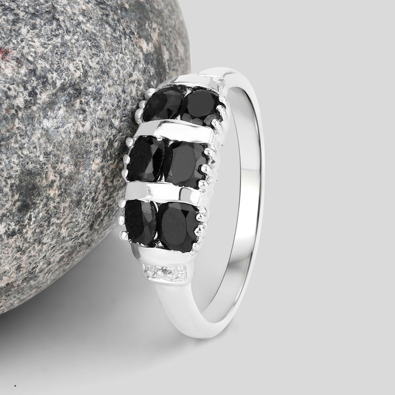 September Birthstone Ring Natural Black Sapphire Double-Row Sterling Silver Ring Gift for Her Black Sapphire Ring