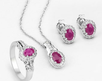 Ruby Set, Genuine Ruby Oval & White Topaz Ring, Earring and Pendant Set in 925 Sterling Silver, July Birthstone, Gift for Wife, Gift for Her
