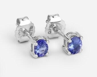 Tanzanite Earrings, Natural Tanzanite Oval Stud Earrings in .925 Sterling Silver, Silver Tanzanite Earrings, December Birthstone