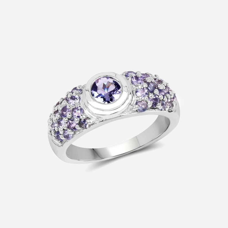 Natural Tanzanite Silver Cocktail Ring in .925 Sterling Silver Tanzanite Ring Silver Tanzanite Ring December Birthstone Ring