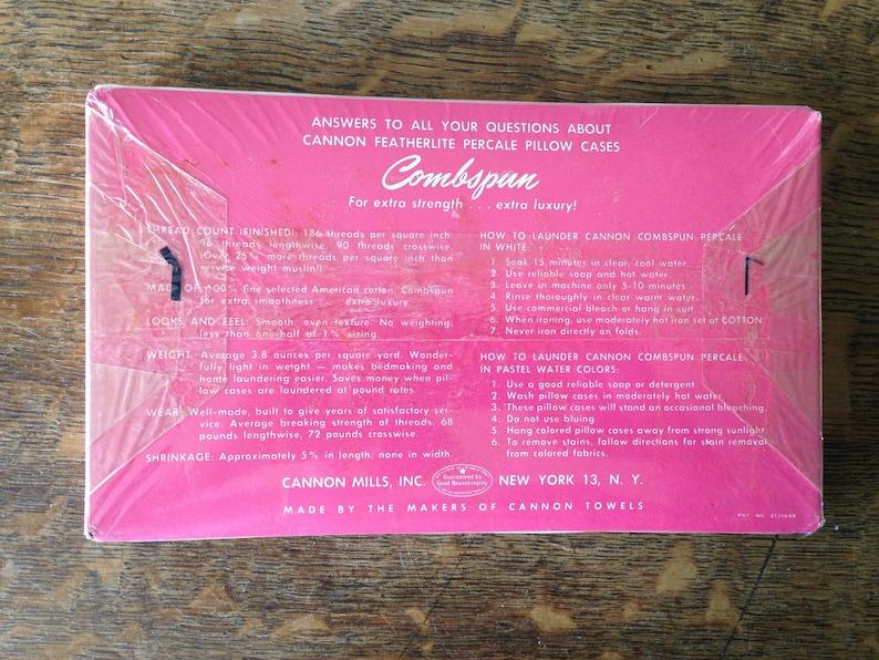 Vintage PILLOW CASES CANNON Featherlite Percale Combspun Cotton Pair