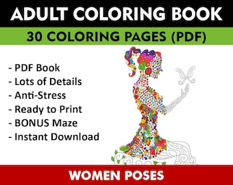30 Women Poses Adult Coloring Pages Instant Download Book For Adults