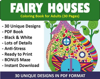 30 Fairy Houses Coloring Pages Books Adult For Adults