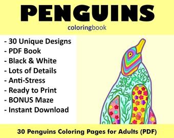 Penguin Coloring Pdf Etsy