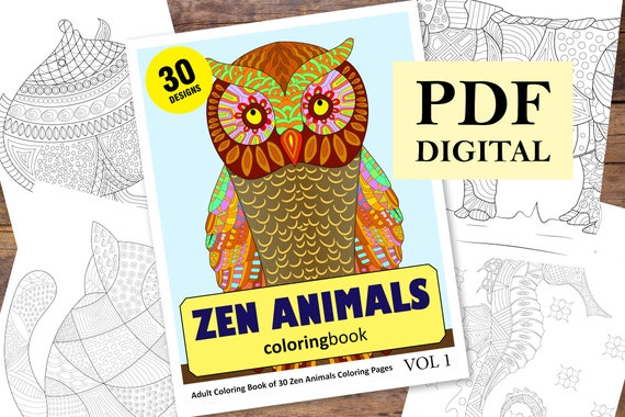 Zen Animals Coloring Book 30 Designs (Coloring Books, Coloring Pages, Adult  Coloring Books, Coloring Books for Adults)