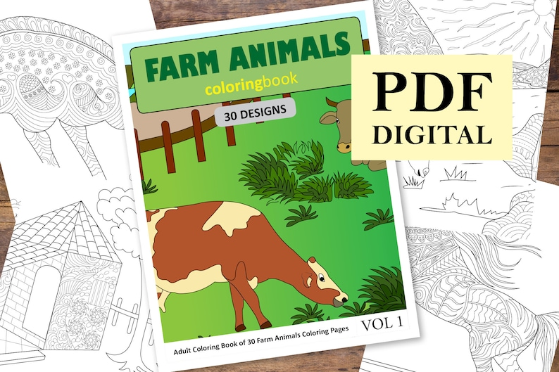 Farm Animals Coloring Book 30 Designs (Coloring Books, Coloring Pages,  Adult Coloring Books, Coloring Books for Adults)