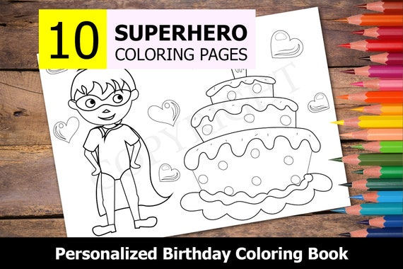 10 Personalized Superhero Themed Coloring Book For Birthday Etsy