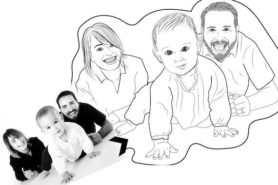 Family Portrait Coloring Family Custom Coloring Page High Quality Customized Coloring Book