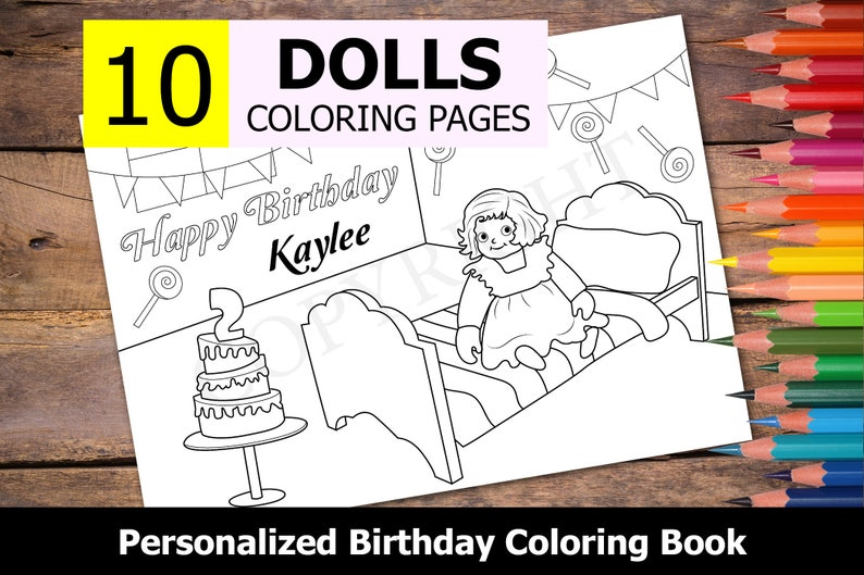 10 Personalized Dolls Themed Coloring Book For Birthday Party Etsy