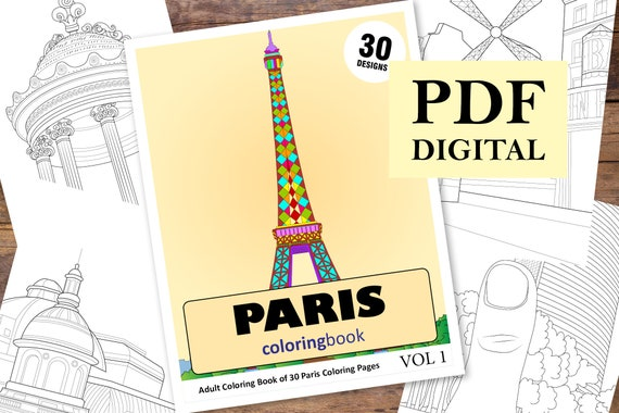 30 Paris City Coloring Pages Coloring Books Coloring Pages Etsy