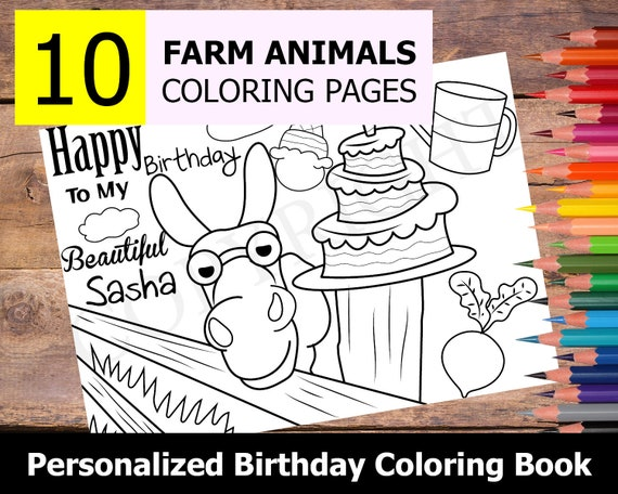 - 10 Personalized Farm Animals Themed Coloring Book For Birthday Etsy