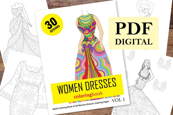 - 30 Women Dresses Coloring Pages Coloring Books Coloring Etsy
